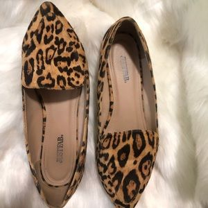 JustFab leopard faux suede loafers